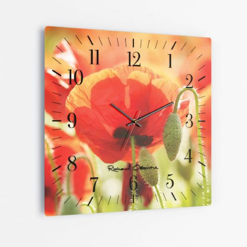 Poppies, Norfolk - Square Glass Clock